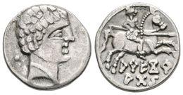 30 ARECORATAS. Denario. 150-20 A.C. Agreda (Soria). A/ Cabeza Masculina A Derecha, Detrás Glóbulo. R/ Jinete Con Lanza A - Spain