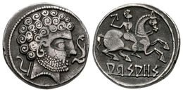 31 ARSAOS. Denario. 120-80 A.C. Jaca (Huesca). A/ Cabeza Masculina A Derecha Entre Arado Y Delfín. R/ Jinete Con Dardo A - Spain