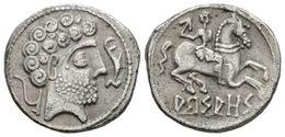 32 ARSAOS. Denario. 120-80 A.C. Zona De Navarra. A/ Cabeza Masculina Barbada A Derecha Con Doce Rizos, Delante Delfín Y  - Spain