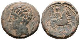 33 ARSE-SAGUNTO. As. 120-100 A.C. Sagunto (Valencia). A/ Cabeza Masculina A Izquierda, Detrás Caduceo. R/ Jinete Con Lan - Spain