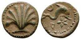 37 ARSE-SAGUNTO. Sextante. 170-20 A.C. Sagunto (Valencia). A/ Concha. R/ Delfín A Derecha, Encima Creciente, Debajo Letr - Spain