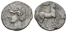 60 CARTAGO. 1/4 Shekel. 220-205 A.C. Zeugitania. A/ Cabeza De Tanit A Izquierda. R/ Caballo Parado A Derecha. SNG Copenh - Spain
