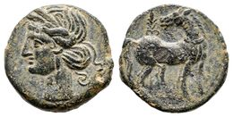 62 CARTAGONOVA. Calco. 220-215 A.C. Cartagena (Murcia). A/ Cabeza De Tanit A Izquierda. R/ Caballo Parado A Derecha Con  - Spain