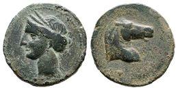 63 CARTAGONOVA. Calco. 220-215 A.C. Cartagena (Murcia). A/ Cabeza De Tanit A Izquierda. R/ Cabeza De Caballo A Derecha.  - Spain