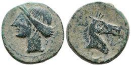 64 CARTAGONOVA. Calco. 220-215 A.C. Cartagena (Murcia). A/ Cabeza De Tanit A Izquierda. R/ Cabeza De Caballo A Derecha D - Spain