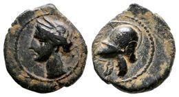 67 CARTAGONOVA. 1/4 Calco. 225-215 A.C. Cartagena (Murcia). A/ Cabeza De Tanit A Izquierda. R/ Casco. FAB-514. Ae. 1,45g - Spain