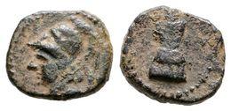 68 CARTAGONOVA. 1/4 Calco. 220-215 A.C. Cartagena (Murcia). A/ Cabeza De Atenea Con Casco A Izquierda. R/ Coraza. FAB-52 - Spain