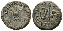 74 CARTAGONOVA. Semis. Epoca De Augusto. 27 A.C.-14 D.C. Cartagena (Murcia). A/ Flor De Loto. IVBA REX. IVBAE. F. II VIR - Spain