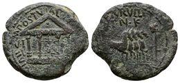 77 CARTAGONOVA. Semis. Epoca De Tiberio. 14-36 D.C. Cartagena (Murcia). A/ Templo Tetrástilo. AVGVSTO VINK. M. POSTV ALB - Spain