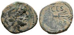 83 CARTEIA. Semis. 80-20 A.C. San Roque (Cadiz). A/ Cabeza De Júpiter A Derecha, Detrás S. R/ Fulmen, Encima CAES, Debaj - Spain