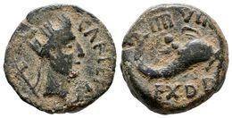 84 CARTEIA. Semis. Epoca De Augusto. 27 A.C.-14 D.C. San Roque (Cadiz). A/ Cabeza Femenina Con Corona Mural A Derecha, D - Spain