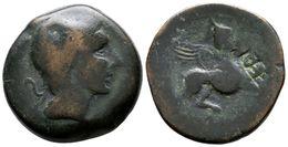 86 CASTULO. As. 180 A.C. Cazlona (Jaén) A/ Cabeza Masculina Diademada A Derecha R/ Esfinge Avanzando A Derecha, Delante  - Spain