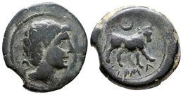 88 CASTULO. Semis. 180 A.C. Cazlona (Jaén) A/ Cabeza Masculina Diademada A Derecha. R/ Toro A Derecha, Encima Creciente, - Spain