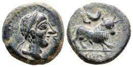 89 CASTULO. Semis. 180 A.C. Cazlona (Jaén). A/ Cabeza Masculina Diademada A Derecha, Delante Letra Ibérica Ca. R/ Toro A - Spain