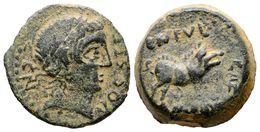 90 CASTULO. Cuadrante. 180 A.C. Cazlona (Jaén) A/ Cabeza Diademada A Derecha, Alrededor CN. VOC. S. T. F. R/ Jabalí A De - Spain