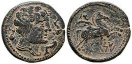 91 CELSA-KELSE. As. 120-50 A.C. Velilla De Ebro (Zaragoza) A/ Cabeza Masculina Con Manto Y Fíbula A Derecha, Alrededor T - Spain