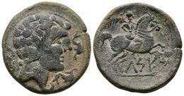 95 CELSE. As. 120-50 A.C. Velilla Del Ebro (Zaragoza). A/ Cabeza Masculina A Derecha Con Manto Y Fíbula, Alrededor De Tr - Spain