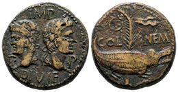 96 COLONIA AUGUSTA NEMASUS. As. 10-14 D.C. A/ Cabezas Laureadas De Augusto Y Agripa, A Los Lados. P-P. IMP. DIVI F. R/ C - Spain