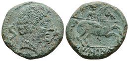 108 DANUSIA. As. 120-20 A.C. Botija (Cáceres). A/ Busto A Derecha Entre Dos Delfines. R/ Jinete Con Lanza A Derecha, Deb - Spain
