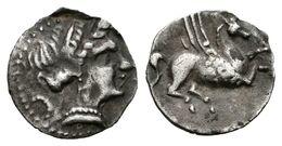 117 EMPORITON. Tritartemorión. Sant Martí De Ampurias (Gerona). 450-400 A.C. A/ Cabeza Femenina A Derecha. R/ Pegaso A D - Spain