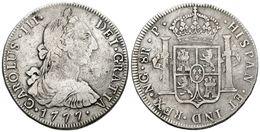 545 CARLOS III. 8 Reales. 1777. Guatemala P. Cal-825. Ar. 26,41g. MBC-. Muy Escasa. - Spain