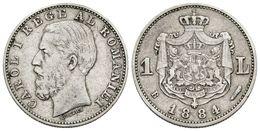 871 RUMANIA. Carol I. 1 Leu. 1884. Bucarest B. KM#22. Ar. 4,95g. MBC. Escasa. - Spain