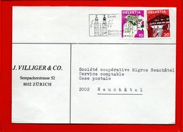 SUISSE, Lettre De Zurich Pour Neufchatel, Flamme Touristique - Lettres & Documents