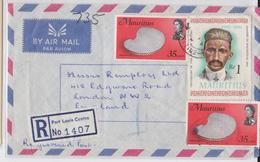 MAHATMA GANDHI STAMP - ÎLE MAURICE - MAURITIUS - PORT LOUIS REGISTERED AIR MAIL COVER 1969 - SHELL - TIMBRE COQUILLAGE - Mahatma Gandhi