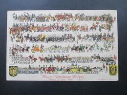 AK Österreich / Künstlerkarte Kaiser Jubiläums Festzug 1908. Dreifarbenfrankatur Gesendet Nach Konstantinopel Türkei - Briefe U. Dokumente