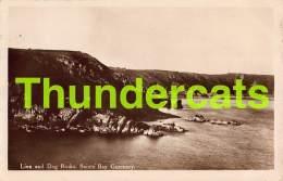 CPA GUERNSEY PHOTO LION AND DOG ROCKS SAINTS BAY - Guernsey