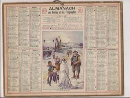 Grand Calendrier Des Postes  1924  (Carte Nord 59)     La Statue De Neige - Calendars