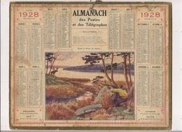 Grand Calendrier Des Postes  1928  (Carte Meuse)   Chasse à L'Elan Au Canada - Calendars