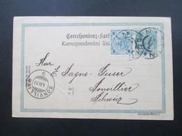 Österreich Ganzsache 1902 Mit Zusatzfrankatur In Die Schweiz. Heinrich Fuchs Agentur Und Commission Zlin Mähren - Briefe U. Dokumente
