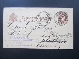 Österreich Ganzsache 1883 Wien Nach Böhmen / Weitergeleitet. A. Schönfeld Buchhandlung & Antiquariat - 1850-1918 Imperium
