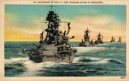 BATTLESHIPS OF THE U S FLEET STEAMING ALONG IN FORMATION - Guerra