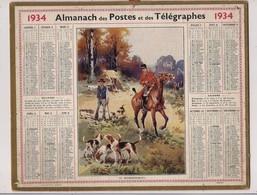 Grand Calendrier Des Postes Oberthur 1934  (Carte AUBE)   CHASSE, Le Renseignement - Calendars