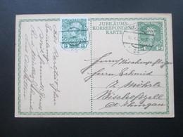 Österreich Ganzsache 1908 Ganzsache Zum 60. Regierungsjubiläum Kaiser Franz Joseph Mit Zusatzfrankatur Nr. 142 - 1850-1918 Imperium