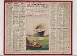 "Grand Calendrier Des Postes Oberthur 1935  (Carte AISNE)  Paquebot ""Ile De France"" - Calendars"