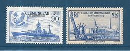 France Timbres De 1939  N°425 Et 426  Neuf * Petite Trace De Charnière - France