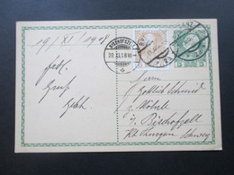 Österreich Ganzsache 1908 Ganzsache Mit Zusatzfrankatur Nr. 143 Bregenz - Bischofszell Schweiz. - 1850-1918 Imperium