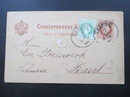 Österreich Ganzsache 1878 Zusatzfrankatur Nr.36 Ovaler Stempel Triest Nach Basel. Triester Marktverein Waaren Abtheilung - 1850-1918 Imperium