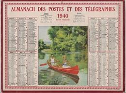 Grand Calendrier Des Postes Oberthur 1940  (Carte Seine)    Promenade En Barque - Calendars