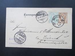 Österreich Ganzsache 1888 Mit Zusatzfrankatur Nr. 45 Wien - Zürich - Neumünster - 1850-1918 Imperium