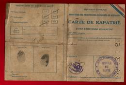 Carte De Rapatrié Prisonnier De Guerre Marcel Clech Bégard 15-06-1945 Cachet Santé Mézières Ardennes Tabac Libération - Documenten