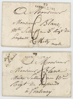 72 RAMBOUILLET 1814 – 36 X 9 Mm. Les Deux - Marcophilie (Lettres)