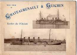 LES BATEAUX CHATEAURENAULT & GUICHEN  -  ECOLES DE L'OCEAN  -  24 IMAGES PHOTOS DES MARINS DE CES BATIMENTS  - 1912 - Boats