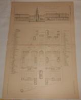 Plan De L'Hôpital Civil De Vichy. M.M. Coquet, Barrody Et Percilly, Architectes. 1890 - Public Works