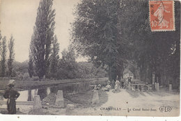 CHANTILLY : T.RARE CPA. DE 1915.LE CANAL ST.JEAN.ANIMEE.N° 9.B.ETAT.PETIT PRIX.COMPAREZ!!! - Chantilly