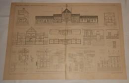 Plan Des écoles Et De La Mairie  De Mantes La Ville. Seine Et Oise. 1890 - Public Works