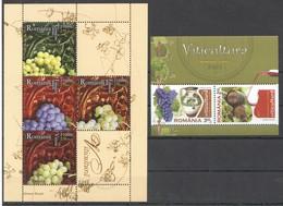 E379 2005,2010 ROMANIA NATURE VITICULTURA WINE FRUITS GRAPES 2KB MNH - Pflanzen Und Botanik